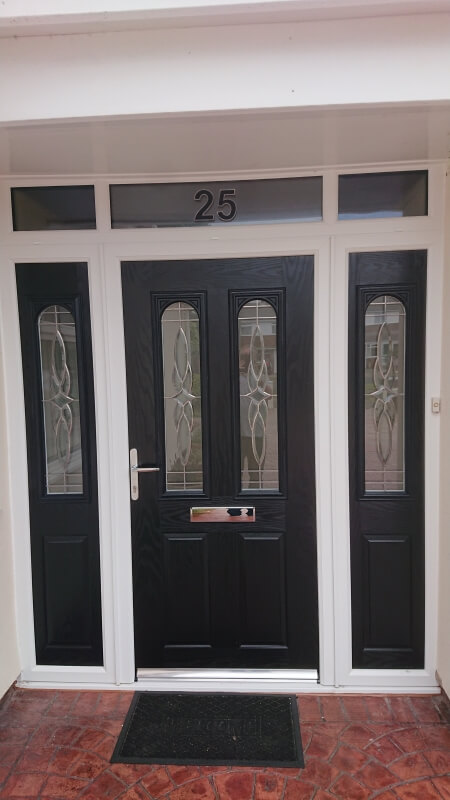 composite door, front, black, side panels, Formby, Merseyside