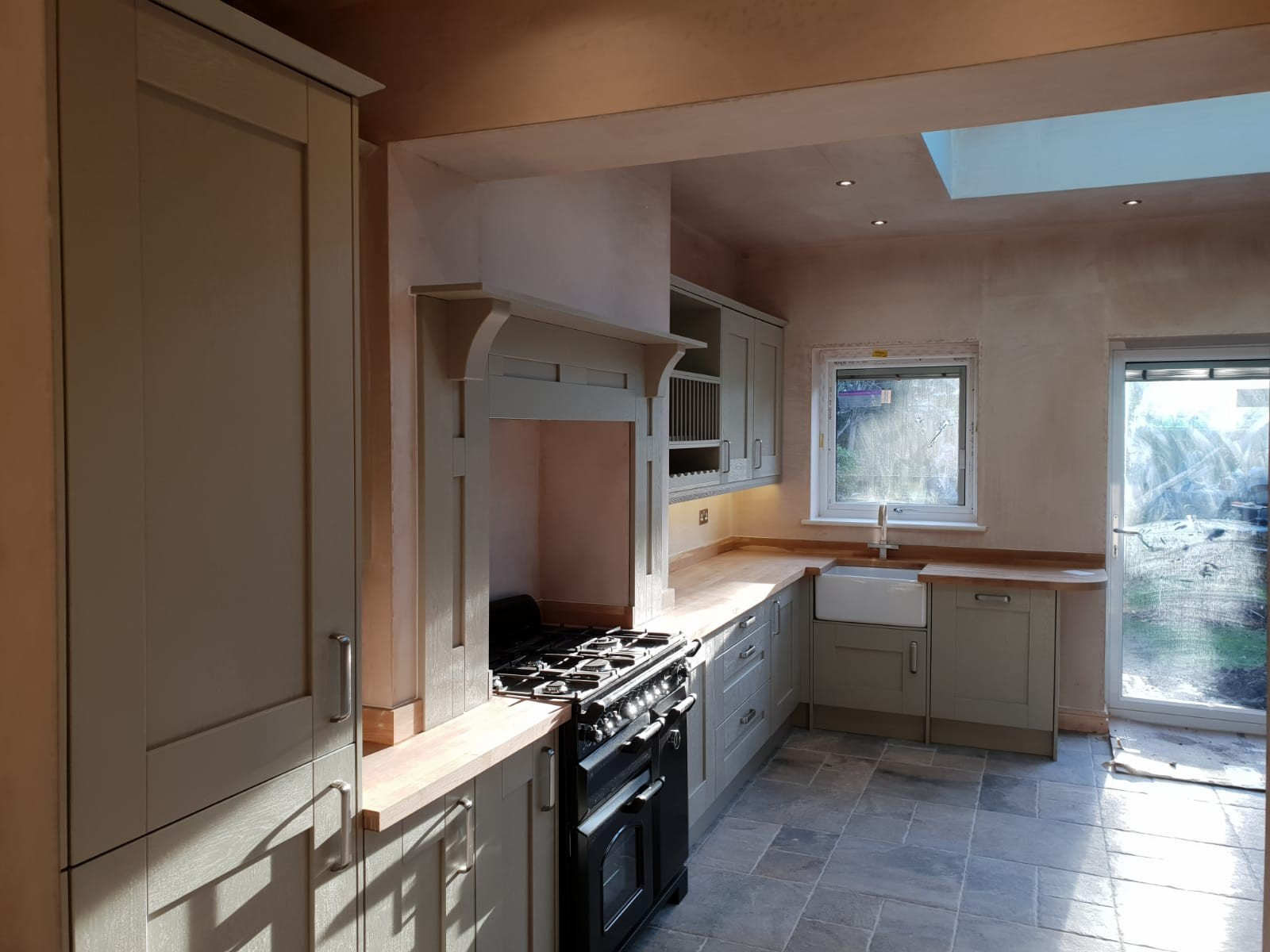 kitchen, remodel, design, installation, oven, worktops, tiles, roof lantern, spotlights