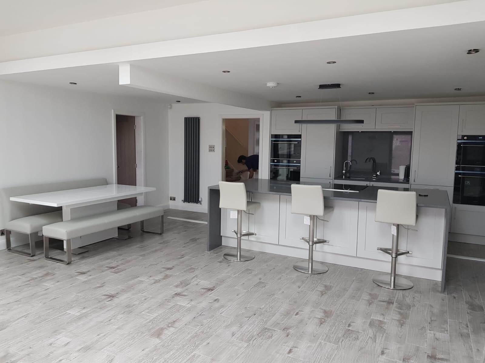 This image shows the kitchen area of an extension in St Helens, Merseyside. Celsius Home Improvements designed and refurbished the kitchen and built the extension.