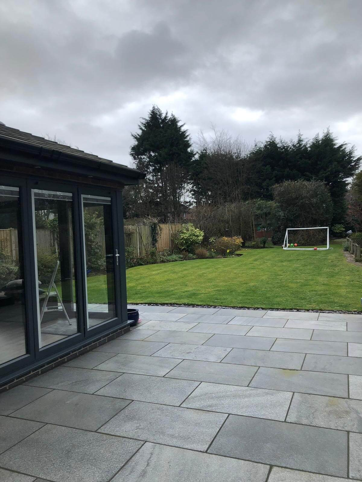 This image shows the view from the back of an extension project in Aughton, Ormskirk.